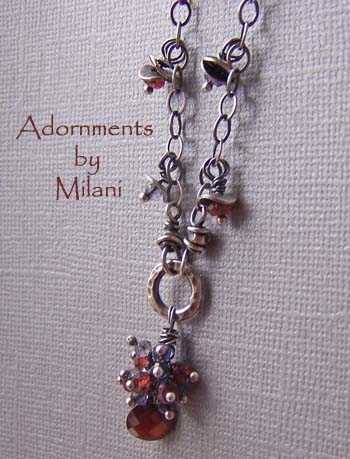 Sangria - Red Garnet Necklace Blue Iolite Gemstones
