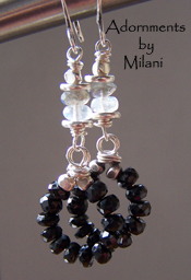 Melange - Black White Moonstone Gray Labradorite Earrings