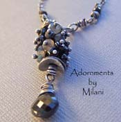 Omega - Black Necklace Spinel Gray Labradorite Gems Boutique