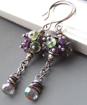 Illumina - Mystic Topaz Purple Long Earrings Green Apatite