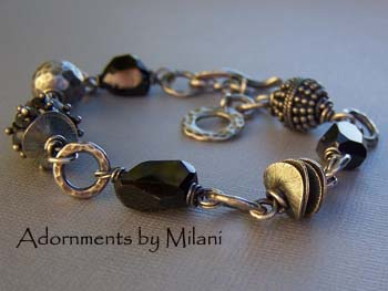 Omega- Black Bracelet Gray Labradorite Gemstone Chunky Beaded Jewelry