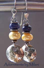Indigo Sway - Lapis Blue Earrings Yellow Hammered Sterling Silver