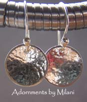 Neo Nebula - Small Hammered Sterling Silver Earrings Simple