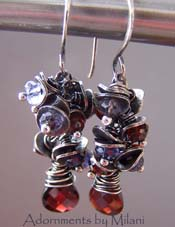 Sangria - Red Garnet Earrings Blue Iolite Gemstones