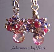Frou Frou - Pink Earrings Topaz Ruby Iolite Gemstones