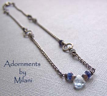 Ocean's Mist Light & Dark Blue Necklace Gemstones Sterling Silver Beaded Petite Dainty