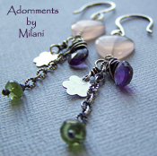 Blush - Pink Purple Green Heart Earrings Colorful Gemstones Beaded Sterling Silver