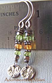 Spring Nectar - Green Peridot Earrings Mandarin Orange