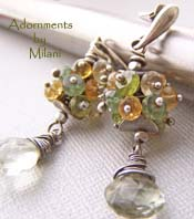 Nature Earrings Green Peridot, Amethyst, Citrine Yellow Gemstones