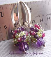 Jardin de Monet - Purple Amethyst, Fuchsia Ruby Earrings Green Peridot Boutique Gemstones