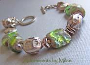 Emerald Isle - Sparkling Green Bracelet Glass Lampwork