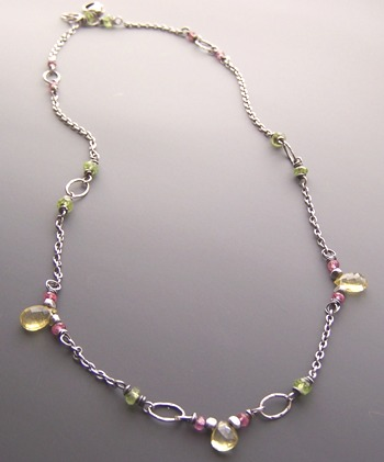 Lemon Yellow Necklace - Pink Green Gemstone Boutique Jewelry