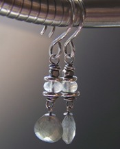 Precipitation - Gray Earrings Labradorite Moonstone Gemstone Beaded