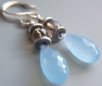 Riviera Blue Earrings Chalcedony, Brown Smoky Quartz Stones Beaded