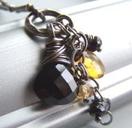 Honeysuckle - Black Spinel Citrine Yellow Necklace Gemstones