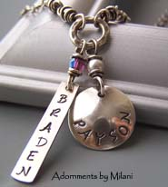 Eclectic Mommy Necklace - Two Children Names Personalized Jewelry