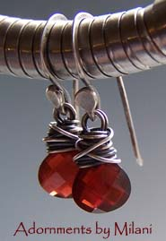 Red is for Love Garnet Earrings Petite Small Gemstones Artisan Rustic Sterling Silver