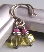 Burst of Sun - Yellow Quartz Ruby Pink Earrings Gemstones