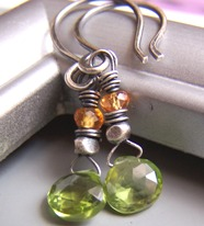 Mint Melody - Green Peridot Mandarin Orange Garnet Earrings Boutique Gemstones