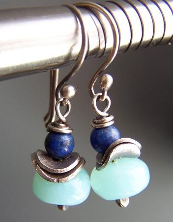 Elemental - Blue Peruvian Opal Lapis Earrings