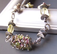 Lemon Yellow Bracelet Pink Green Gemstones Beaded Sterling Silver Artisan
