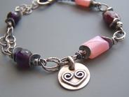 Plumberry - Pink Purple Bracelet Heart Charm Stones Beaded