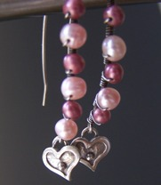 Primrose Pink Pearl Earrings Heart Sterling Silver Feminine Beaded