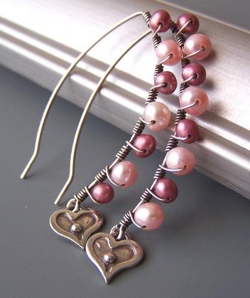 Primrose Pink Pearl Earrings Heart Sterling Silver Feminine