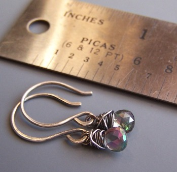 Illumina II Purple Green Earrings Gemstones Beaded