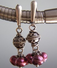 Rougette - Magenta Dark Pink Pearl Earrings Sterling Silver Boutique