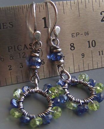 Rainforest- Green Peridot Earrings Dark Blue Kyanite Gemstones