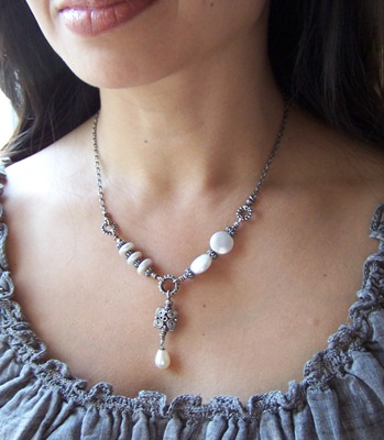 Eccentric - Beaded Freshwater Pearl Necklace Sterling Silver Boutique