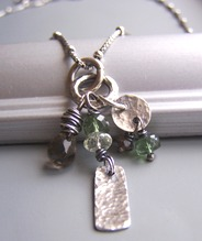 Awaiting Fall - Green Apatite Necklace Smoky Brown Stones