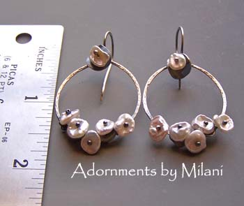 Pearl Hoop Earrings Unique Beaded White Artisan Sterling Silver