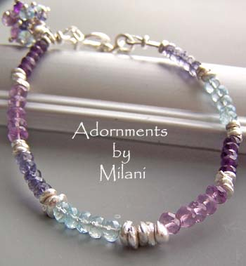 Harmony of Colors - Purple, Lavender, Blue Gemstone Bracelet