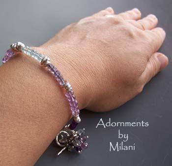 Harmony of Colors - Purple, Lavender, Blue Gemstone Bracelet