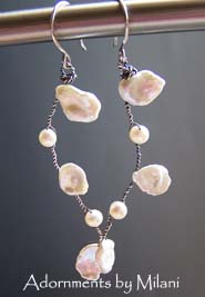 Leimomi Keishi Pearl Earrings Matching Necklace Wedding Bridal Beach Jewelry