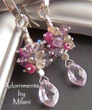 Glamorous - Labradorite, Amethyst, Iolite, Ruby Gemstone Earrings