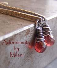 Scarlet - Red Garnet Earrings Artisan Sterling Silver