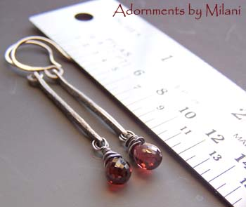 Scarlet - Red Garnet Earrings Artisan Sterling Silver