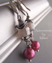 Les Pommettes - Fuchsia Pink Gray Labradorite Earrings