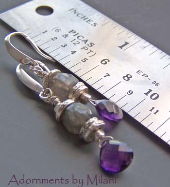 Mylar- Purple Amethyst Earrings Gray Labradorite Gemstones