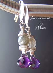 Mylar- Purple Amethyst Earrings Gray Labradorite Gemstones