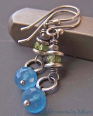Primavera Earrings - Green Peridot Blue Chalcedony Stones
