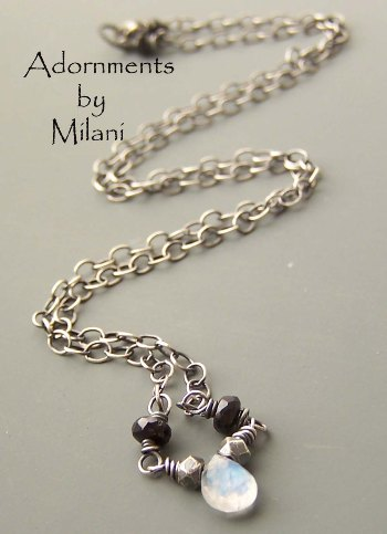 Slumber- Black White Necklace Moonstone Tiny Gemstones