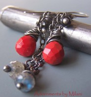 Ring of Fire - Red Black Earrings Labradorite