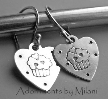 Cupcake Earrings for Bakers Sterling Silver Boutique Jewelry