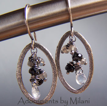 Moonstruck - Black White Earrings Gem Stones Moonstone Spinel