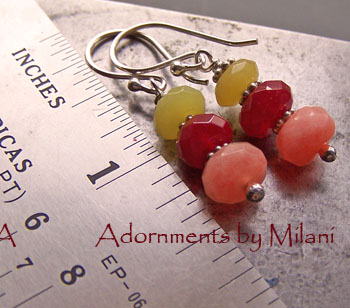 Sherbert- Red Peach Yellow Earrings Sterling Silver Colorful