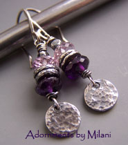 Utterly Purple Earrings - Amethyst Gemstones Beaded February Birthstone Artisan Sterling Silver